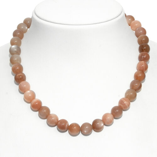 Chocolate Moonstone (Rnd) Beads Necklace (Size 18) in Rhodium Plated Sterling Silver 425.000 Ct.