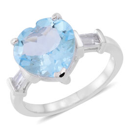 Sky Blue Topaz (Hrt 5.00 Ct), White Topaz Ring in Rhodium Plated Sterling Silver 5.500 Ct.