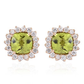 9K Y Gold Checkerboard Cut AAAA Hebei Peridot (Cush), Natural Cambodian White Zircon Stud Earrings (with Push Back) 5.750 Ct.