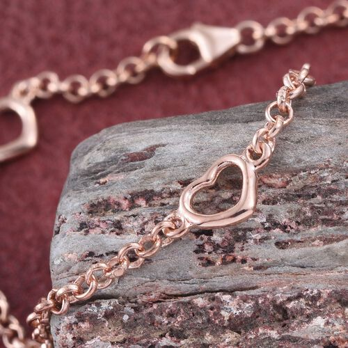 Open Heart Station Chain Bracelet in Rose Overlay Silver  (Size 7.5), Silver wt. 3.17 Gms.