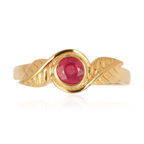 Tribal Collection of India African Ruby (Rnd) Solitaire Ring in 14K Gold Overlay Sterling Silver 0.750 Ct.