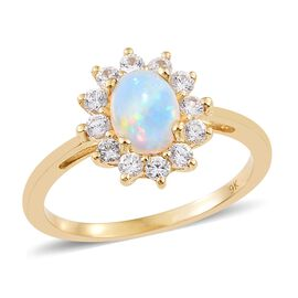 Super Auction - 9K Yellow Gold AAA Ethiopian Welo Opal (Ovl 8x6mm), Natural Cambodian Zircon Ring 1.650 Ct.