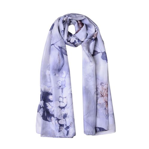 100% Mulberry Silk Grey, Black and White Colour Floral and Leaves Pattern Scarf (Size 180X110 Cm)