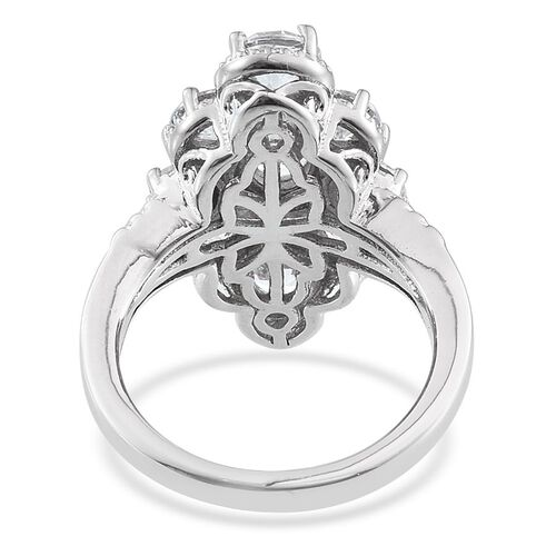 J Francis - Platinum Overlay Sterling Silver (Ovl) Ring Made with SWAROVSKI ZIRCONIA