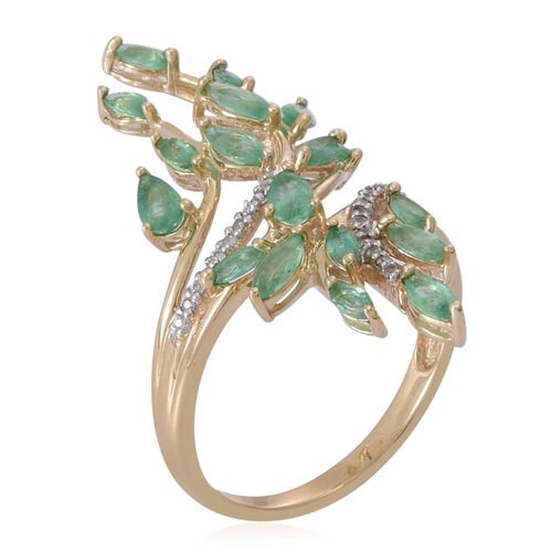 9K Yellow Gold AAA Kagem Zambian Emerald (Pear), Natural White Cambodian Zircon Leaves Crossover Ring 2.500 Ct.