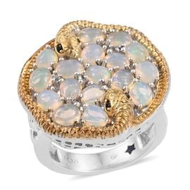 GP Ethiopian Welo Opal (Ovl), Kanchanaburi Blue Sapphire, Boi Ploi Black Spinel and White Topaz Ring in Platinum and Yellow Gold Overlay Sterling Silver 3.750 Ct.