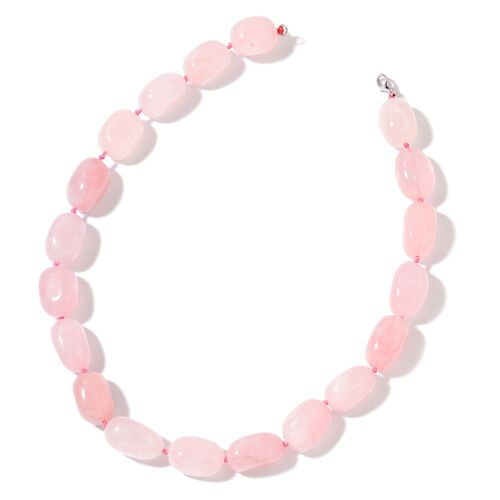 Galilea Rose Quartz Necklace (Size 18) in Rhodium Plated Sterling Silver 607.00 Ct.