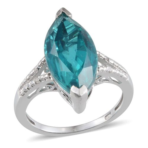 Capri Blue Quartz (Mrq 7.50 Ct), Diamond Ring in Platinum Overlay Sterling Silver 7.530 Ct.