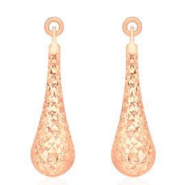 9K R Gold Diamond Cut Teardrop Earrings (with Push Back)