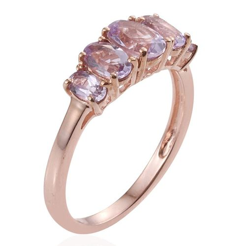 Rose De France Amethyst (Ovl 0.65 Ct) 5 Stone Ring in Rose Gold Overlay Sterling Silver 1.750 Ct.