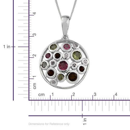 Rainbow Tourmaline (Rnd), Natural Cambodian Zircon Pendant With Chain in Platinum Overlay Sterling Silver 1.500 Ct.