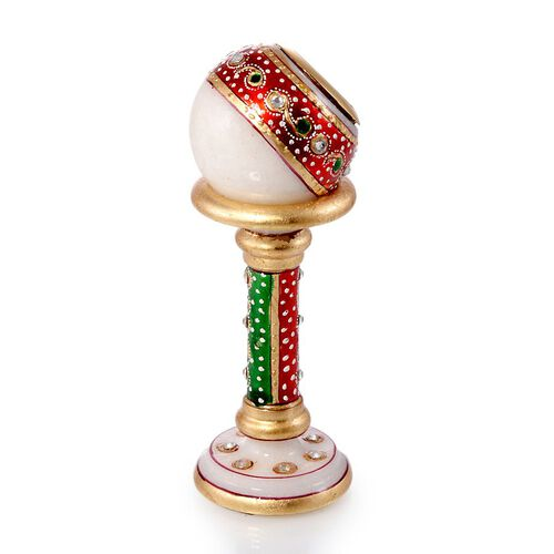 Home Decor - A Clock Mounted on a Detachable Marble Globe Artistically Enamel Sitted on a Marble Pillar Stand