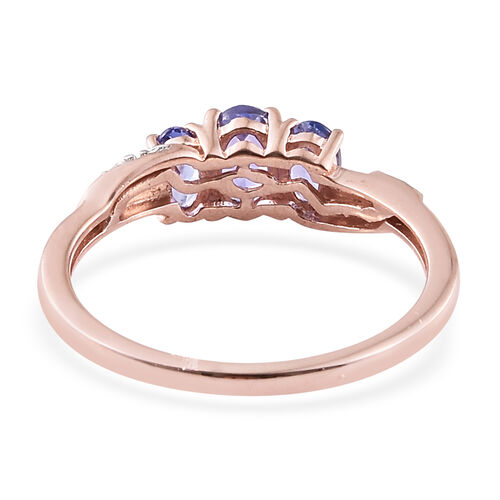 1.15 Ct Tanzanite, Natural Cambodian Zircon Silver Ring in Rose Gold Overlay