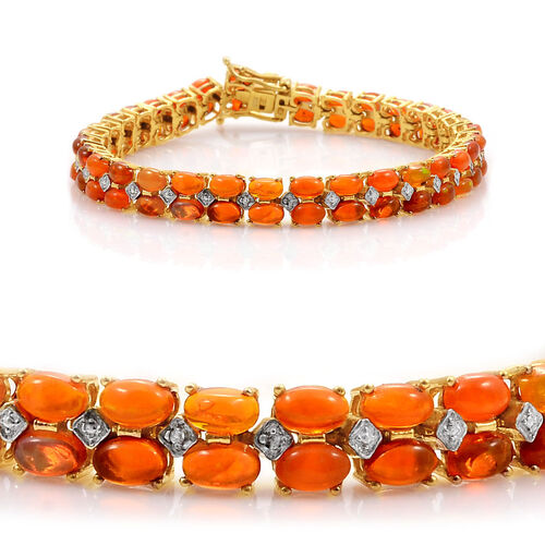 Orange Ethiopian Opal (Ovl), Diamond Bracelet in 14K Gold Overlay Sterling Silver (Size 7) 8.270 Ct.