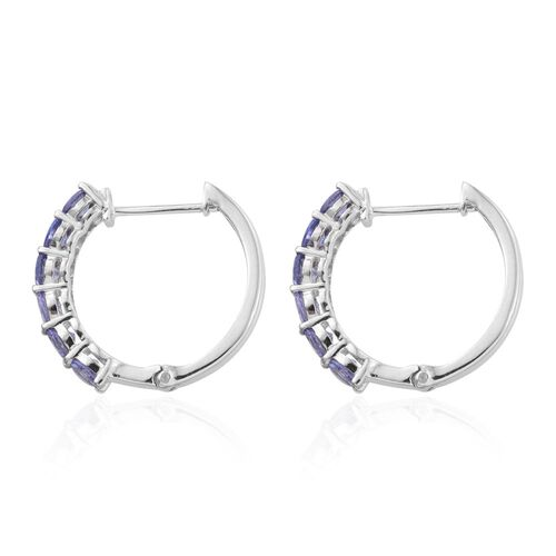 Tanzanite (Rnd) Hoop Earrings in Platinum Overlay Sterling Silver 2.000 Ct.