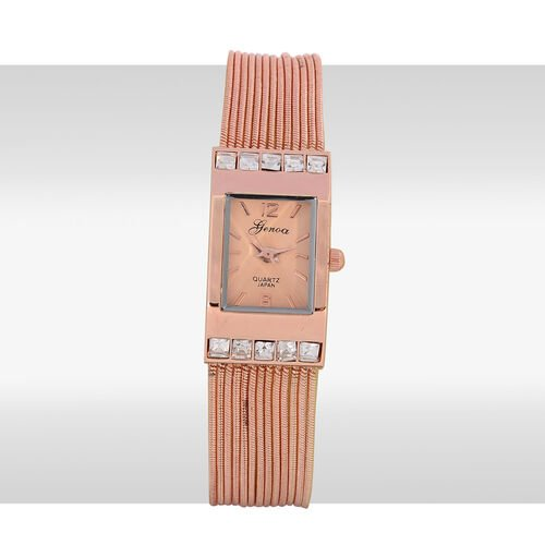 GENOA Japanese Movement Rose Dial White Glass Water Resistant Watch in Rose Gold Tone Strap