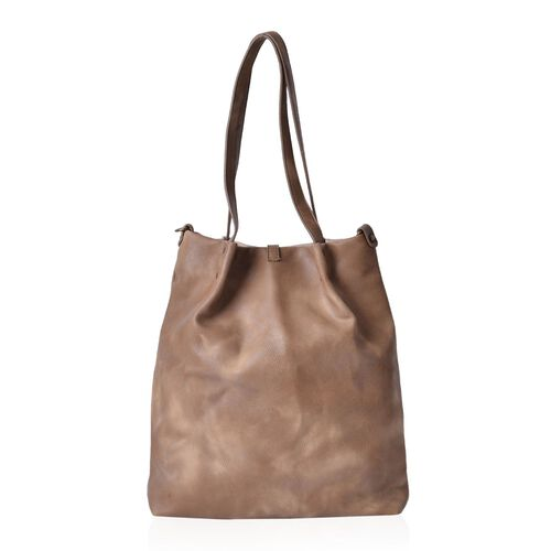 Chocolate and Cream Colour Bucket Bag with Tassel (Size 38x30.5x8 Cm)