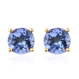 Tanzanite Stud Earrings (with Push Back) in Gold Plated Silver 1 Carat