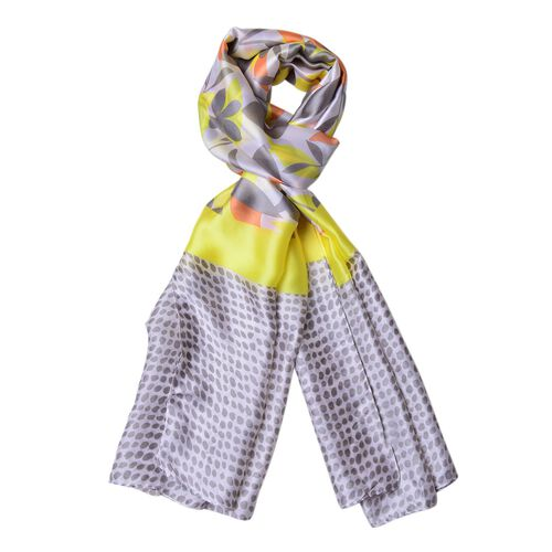 Grey, Yellow and Orange Colour Flowers, Leaves and Dots Pattern Scarf (Size 180X90 Cm)