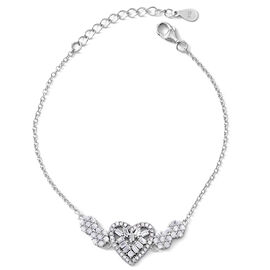 ELANZA AAA Simulated White Diamond (Bgt and Rnd) Heart Bracelet (Size 6.75 with 1.25 inch Extender) in Rhodium Plated Sterling Silver