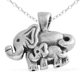 Sterling Silver Elephant Family Pendant with Chain