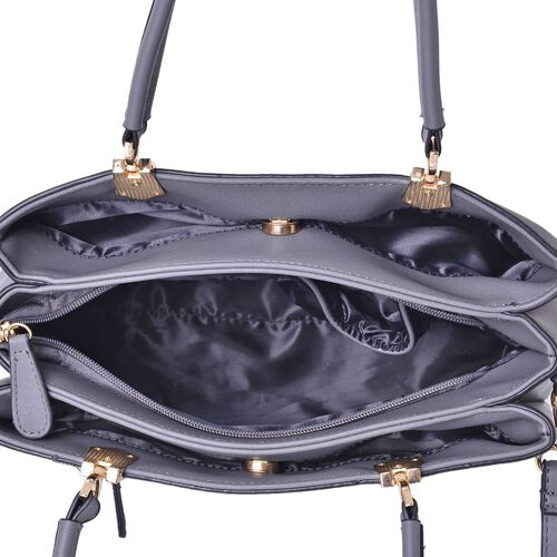 Darley Grey Tote Bag with External Zipper Pocket and Adjustable and Removable Shoulder Strap (Size 30x27x22.5x13 Cm)