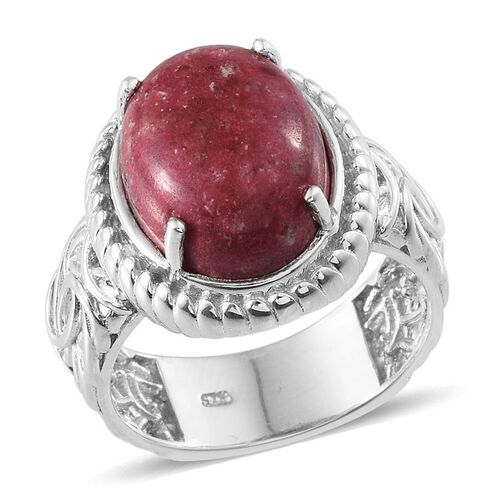 Norwegian Thulite (Ovl) Ring in Platinum Overlay Sterling Silver 11.500 Ct.