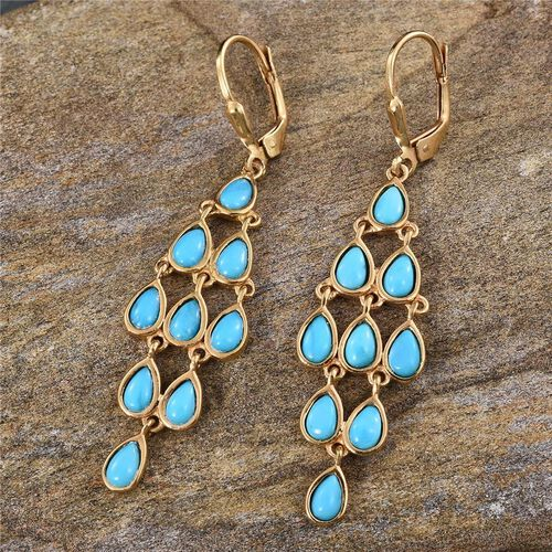 Arizona Sleeping Beauty Turquoise (Pear) Lever Back Earrings in 14K Gold Overlay Sterling Silver 3.000 Ct.