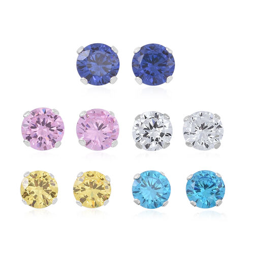 ELANZA Set of 5 - AAA Simulated Pink Sapphire (Rnd), Simulated Tanzanite, Simulated Yellow Sapphire,Simulated Neon Apatite and Simulated Diamond Stud Earrings (with Push Back) in Sterling Silver