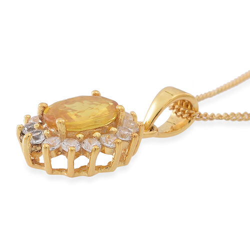 Chanthaburi Yellow Sapphire (Ovl 1.15 Ct),Natural Combodian White Zircon Pendant with Chain (Size 18) in 14K Gold Overlay Sterling Silver 1.750 Ct.