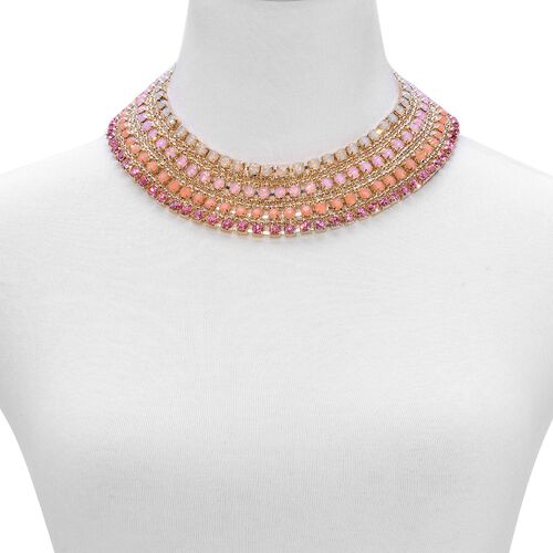 AAA Pink Austrian Crystal and Simulated Stones Necklace (Size 18 with 2 inch Extender) in Gold Tone