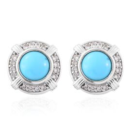 Arizona Sleeping Beauty Turquoise (Rnd), Natural Cambodian Zircon Stud Earrings (with Push Back) in Platinum Overlay Sterling Silver 2.750 Ct.