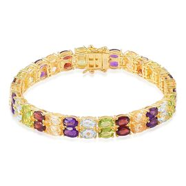 Mozambique Garnet (Ovl), Sky Blue Topaz, Hebei Peridot, Amethyst and Citrine Bracelet (Size 7.5) in Yellow Gold Overlay Sterling Silver 28.750 Ct. Silver wt 16.00 Gms.