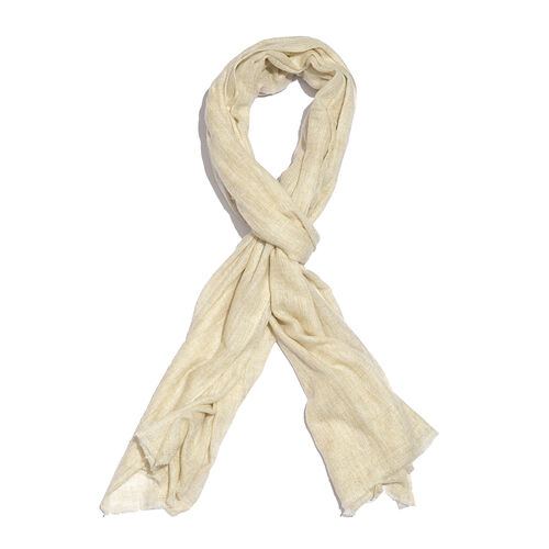 Cashmere & Merino Wool Blend Cream Colour Scarf with Fringes (Size 200X65 Cm) Weight 110 Gms