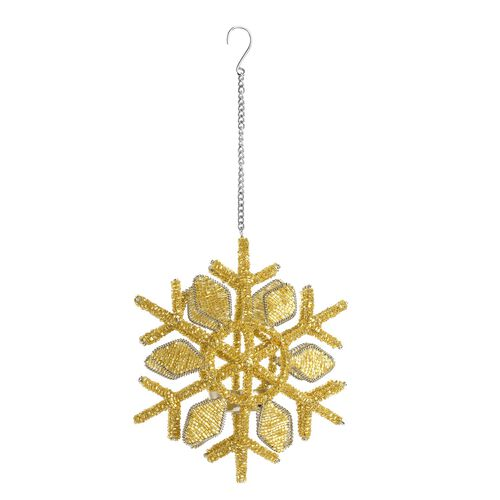 Home Decor - Golden Colour Sparkle Snowflake Decorative Hanging Light Holder (Size 20x15 Cm)