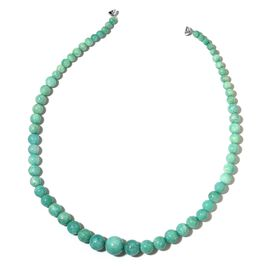 AAA Rare Russian Amazonite (Rnd 5-16mm) Graduated Necklace (Size 20) in Rhodium Plated Sterling Silver with Magnetic Clasp 440.000 Ct.