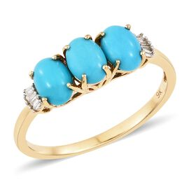 SLEEPING BEAUTY TURQUOISE (1.95 Ct) and Diamond 9K Y Gold Ring  2.000  Ct.