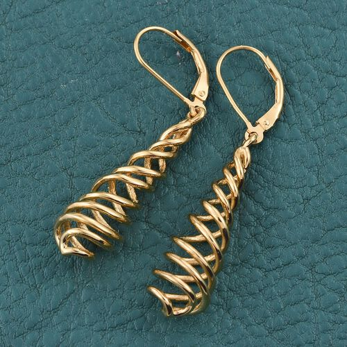 Designer Inspired 14K Gold Overlay Sterling Silver Swirl Lever Back Earrings, Silver wt 5.56 Gms.