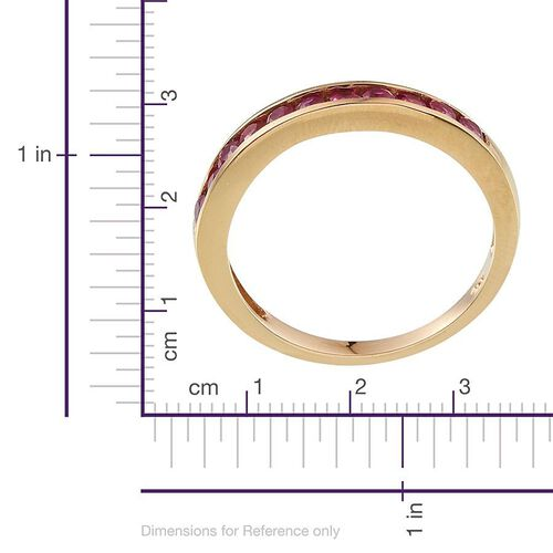 Burmese Ruby (Rnd) Half Eternity Band Ring in 14K Gold Overlay Sterling Silver 1.000 Ct.