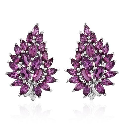 AAA Rhodolite Garnet (Mrq) Earrings (with Push Back) in Platinum Overlay Sterling Silver 5.250 Ct.