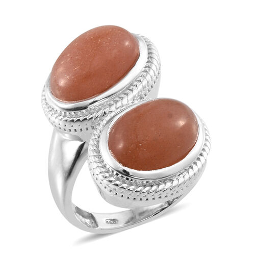 Morogoro Peach Sunstone (Ovl) Ring in Platinum Overlay Sterling Silver 11.500 Ct.