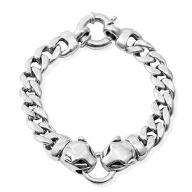 Sterling Silver Panther Head Curb Bracelet (Size 7.5), Silver wt 18.70 Gms.