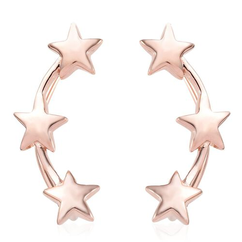 Rose Gold Overlay Sterling Silver Star Climber Earrings, Silver wt 4.22 Gms.