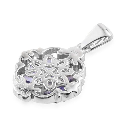Tanzanite (Pear) Flower Pendant in Platinum Overlay Sterling Silver 1.00 Ct.