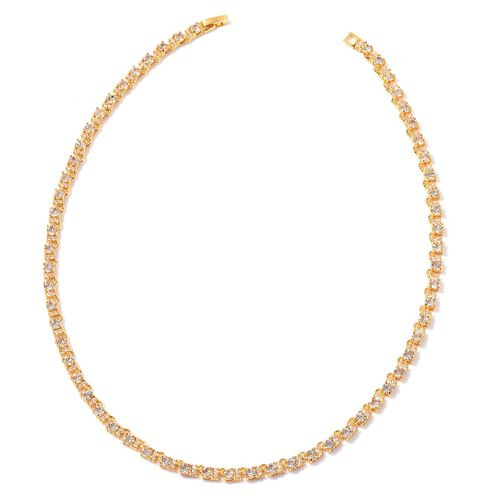 AAA Simulated White Diamond and White Austrian Crystal Necklace (Size 18) in Gold Tone