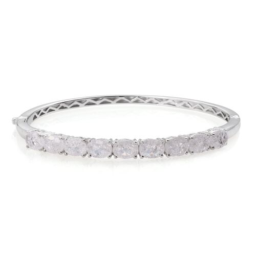 Diamond Crackled Quartz (Ovl) Bangle (Size 7.5) in ION Plated Platinum Bond 10.250 Ct.