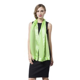 End Of Season Deal -100% Mulberry Silk Green Colour Scarf with Satin Border (Size 160X60 Cm)