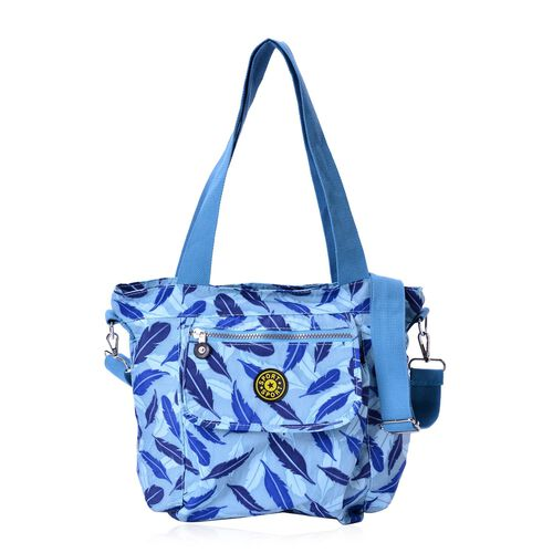 Blue Colour Feathers Pattern Waterproof Handbag with Adjustable and Removable Shoulder Strap (Size 28.5X28X10 Cm)