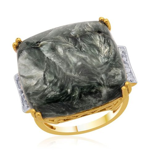 Siberian Seraphinite (Cush 17.00 Ct), White Topaz and Diamond Ring in 14K Gold Overlay Sterling Silver  17.250 Ct.