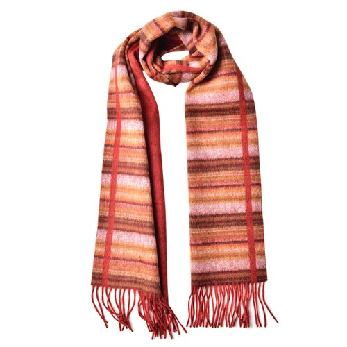 100% Wool Chocolate and Multi Colour Stripes Pattern Scarf with Tassels (Size 180x30 Cm)